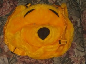 "EC orange pooh bear face stuffed plush back pack carrying bag 10""LX11""W"