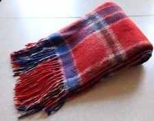 Vintage Red White and Blue Plaid Tartan Wool Blanket Throw Alpaca Wool Uruguay