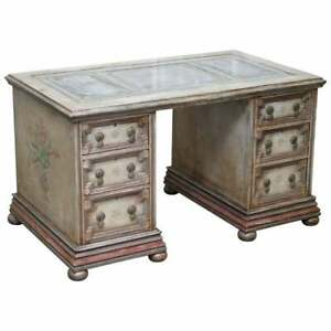 RARE HAND PAINTED PEDESTAL DESK BY THE ARTIST AMBROSE THOMAS MARQUIS D'OISY