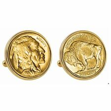 NEW Gold-Layered Buffalo Nickel Goldtone Bezel Coin Cuff Links 13562