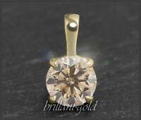 Brillant Diamant Damen 585 Gold Anhänger, 1,12 ct, champagner, Si; Gelbgold NEU