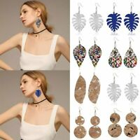 Women Boho Genuine Leather Leaf Earrings Stud Hook Drop Dangle Charm Jewellery