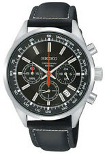 SCNP OS SSB037P2 Seiko Mens Chronograph Tachymeter & Date Leather Strap Watch