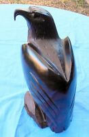 """FINELY HAND CARVED HARD DARK WOOD EAGLE BIRD CARVING 12"""" SCULPTURE STATUE"""