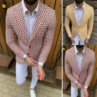 Tweed Houndstooth Blazer Men Tuxedos Wide Lapel Sport Single-Breasted Suits Coat