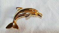 Gold colour gilt metal vintage Art Deco antique dolphin brooch