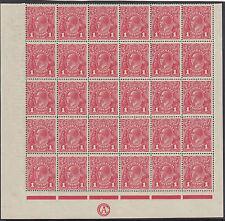 Stamps Australia 1d red KGV single watermark inverted CA monogram block 30, RARE