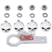 4 Chrome Custom Skull Bolt Hardware Kit For Harley License Plate Frame 1/4-20