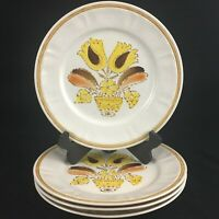 Set of 4 VTG Dinner Plates by Americana Hearthside Bountiful Stoneware Japan