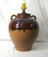 Substantial Rustic Earthen Large Drip Glaze Pottery Jar with Handles Table Lamp