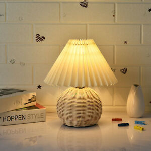 Korean Vintage Rattan Table Lamps Bedroom Living Room Bedside Pleated Desk Lamp