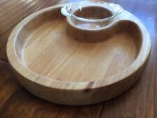 "Wood/ glass 11"" circle Chip Dip Serving Bowl Snacks Nuts Chips Party Vintage Set"