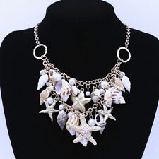 Women Summer Ocean Multi Starfish Conch Shell Pearl Chain Beach Necklace Jewelry