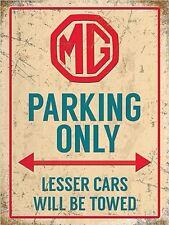 More details for mg parking only large steel sign 400mm x 300mm (og)
