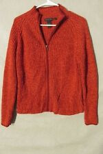 V7288 Nomadic Traders Red Cotton Blend Zip Up Knit Sweater Women's M