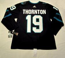JOE THORNTON size 54 = XL - San Jose Sharks ADIDAS alt Stealth jersey PRO CUSTOM