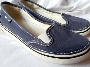 Women's Canvas Slip On Crocs Size 8 Nautical Navy Blue Loafers Boat Shoes