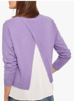 BNWT Mint Velvet Merino Wool Pleated Knit Jumper Top Purple White UK 6 RRP £99