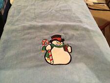 Blue Christmas snowman towel