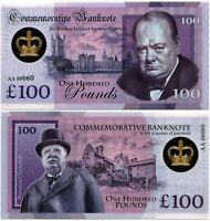 Russia 100 pounds 2021, Winston Churchill, Souvenir polymer banknote, UNC