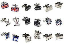 Silver Cufflinks Set for Men Novelty Wedding Groom Crystal Vintage Shirt Gift UK