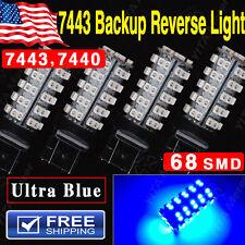 4x Ultra Blue 7443 68SMD Dual Filament LED Light Bulbs Backup Reverse T20 7440