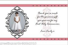 10 Personalised Communion or Confirmation Thank You Cards Girl Photo 4