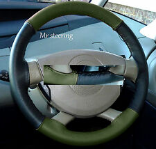 FITS ROVER 75 98-05 QUALITY BLACK&GREEN ITALIAN LEATHER STEERING WHEEL COVER