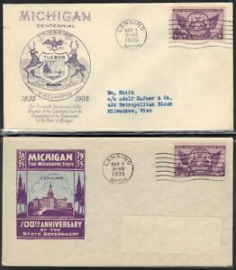 U.S. MICHIGAN CENTENNIAL 1935 TWO DIFFERENT CACHETS FDC'S
