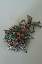 Vintage Brooch Multi Color Rhinestones Flower Bow Pin Large Dress Coat Scarf