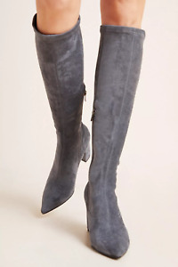 NEW ANTHROPOLOGIE SILENT D KOMASS COMESS MICRO SUEDE KNEE BOOTS SHOES GRAY 40