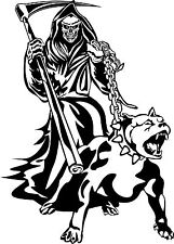Grim Reaper Dog Chain Scythe Creature Monster Window Laptop Vinyl Decal Sticker