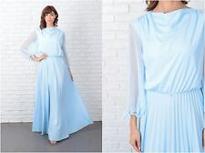 Vintage 70s Slouchy Draped Maxi Dress Blue Accordion Pleated Sheer Slv M L