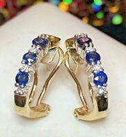 VINTAGE ESTATE 14K GOLD OVER BLUE SAPPHIRE & DIAMOND EARRINGS OMEGA FRENCH BACKS