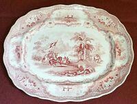 "19th Cent. Pink Staffordshire Transferware Columbus Platter W Adams & Sons 17"" L"