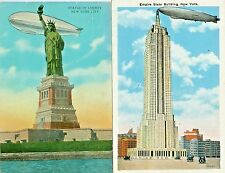 New York NY Zepplin Moored to the Empire State Building,Pass Statue of Liberty