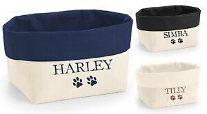 Personalised Name Canvas Organiser - Storage Tub Bag Basket Box Pet Cat Dog Toys