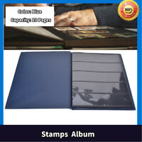 10 Pages Stamp Album Stamps Stock Sheet Pages Collection Book Stamp Holder(Blue)