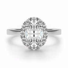 1.20 Ct VVS1 Oval Diamond Engagement Ring 14K Solid White Gold Rings Size 5 6 7
