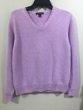 lands ends Beautiful Lavender V-Neck Cotton Knit Sweater Size Med