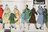 PUBLICITÉ DE PRESSE 1957 TISSU GARANTI BOUSSAC PAR TOUS LES TEMPS - GRUAU