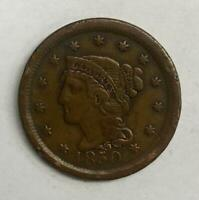 1850 Braided Hair Large Cent 1¢ Fine