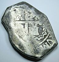 1700s Silver Spanish Mexico 8 Reales Eight Real Antique Colonial Dollar Cob Coin