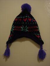 Euc Black Purple Multi Youth Kid's Winter Child's Earflap Beanie Tassle Hat