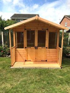 10x8 Wooden Summerhouse Inc 2ft Front Veranda - FULLY T&G - Outdoor Garden Shed