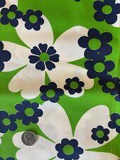 New ListingVintage 1960'S Fabric Mod Hippie Floral Flower Daisy Navy Blue Green