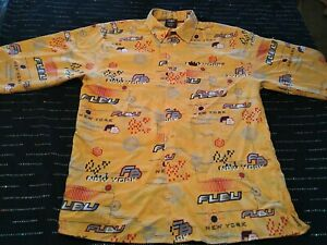Vintage Fubu FB New York Yellow Button Up Long Sleeve All Over Print Size L