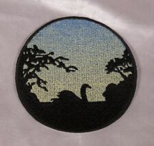 Embroidered Swan On Water At Sunrise Silhouette Ombre Circle Patch Iron On Sew