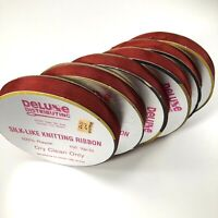 Vintage Silk-Like Knitting Ribbon Deluxe Distributing Rayon Burgundy Lot of 6