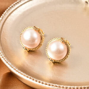 Diamond Stud Earrings with Edison Pearl in Yellow Gold Plated Sterling Silver